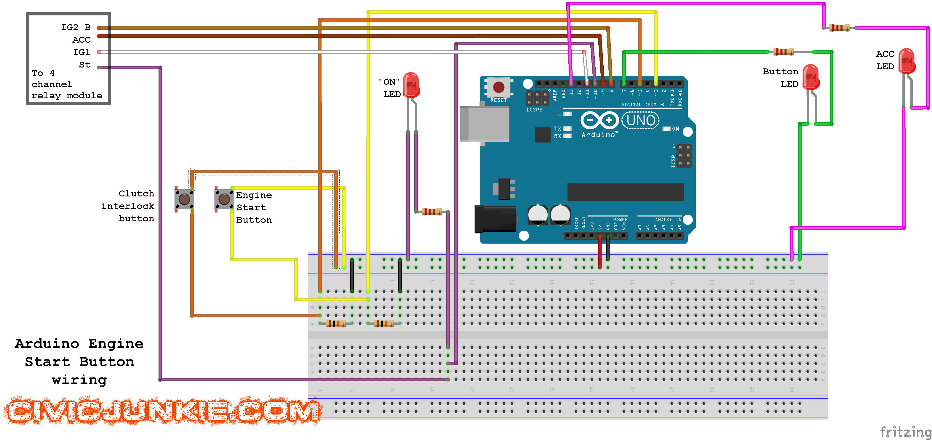 How To Install A Start Button Civic Junkie Wiring Diagrams Cars Arduino Diagram